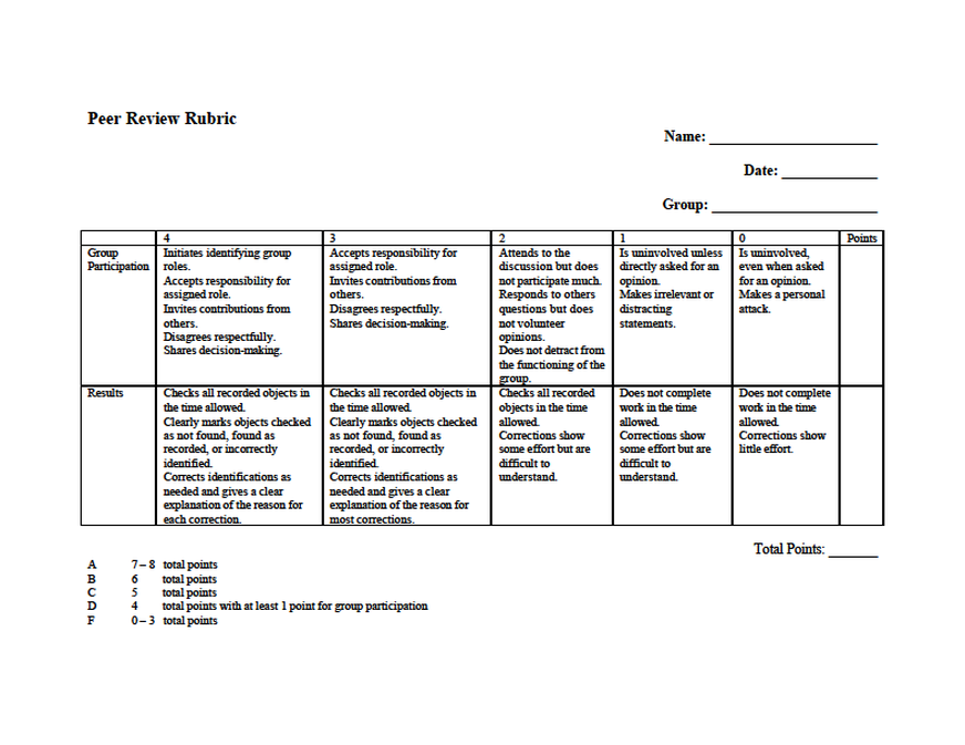 Group Peer Rubric Biomes Class Project